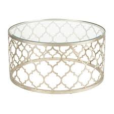 moroccan round coffee table silver moroccan quatrefoil glass top coffee table