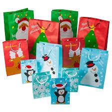 bulk gift bags 12pc set christmas gift bags festive felt small santa snowman