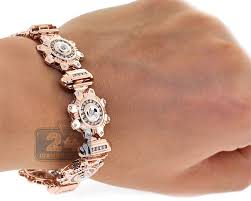 links bracelet rose gold images 14k rose gold 3 57 ct diamond mens link bracelet 8 inches jpg
