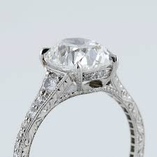 deco oval cushion cut 3 02 carat diamond and platinum ring