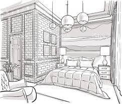 bedroom interior outline vector sketch drawing stock vector art