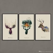 2017 3 panels triptych watercolor animal beautiful deer art prints