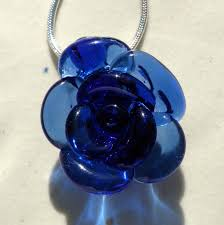 glass flower necklace images Blue glass rose necklace blown glass flower jewelry silver chain jpg