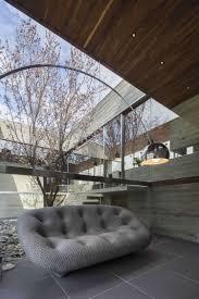 Wohnzimmer Japan Stil Panoramafenster Zum Innengarten Im Minimalistischen Stil