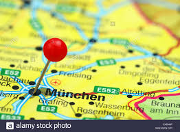 Map Pf Europe by Munich Pinned On A Map Of Europe Stock Photo Royalty Free Image