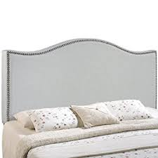 Upholstered Nailhead Headboard by Amazon Com Modway Curl Upholstered Linen Headboard Full Size