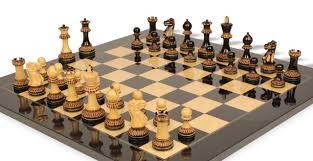 parker staunton chess set in burnt boxwood with black ash burl