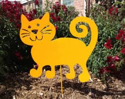tuxedo cat garden stake or wall hanging memorial black and
