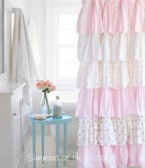 cottage colors ruffle shower curtain pink roses pink roses