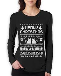 meowy christmas ugly sweater women long sleeve t shirt cat lover