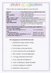 english teaching worksheets order of adjectives