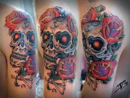 skull and roses neotraditional tattoo 2 sessions 5 hour u2026 flickr