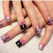 animal print nails with bows posh nail art kawaii pinterest