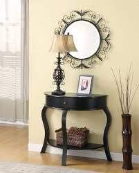 amazing black console table design featuring laminate wooden floor
