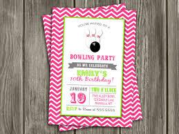 printable pink chevron bowling birthday invitation birthday