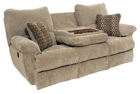 Reclining Sofas And Loveseats Khaky Velvet Reclining Seat Sofa Built In Drop Table