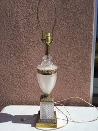 Brass And Crystal Table Lamps Vintage Hollywood Regency Brass Crystal Table Lamp Pineapple Style