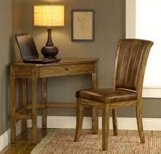 dark brown wooden small desks with drawers and storage having
