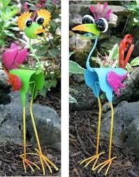 Cool Garden Ornaments Bird Garden Ornaments Metal Coo Coo Birds Set Of 2 Garden Lawn