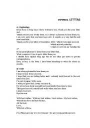 english teaching worksheets informal letters