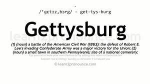 gettysburg pronunciation and definition youtube