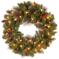 wreath with battery operated led lights lightings and