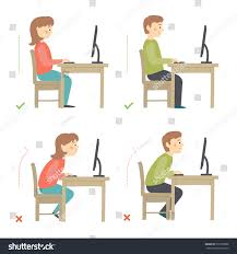 Computer Desk Posture Correct Incorrect Sitting Posture Computer Cartoon Stock Vector