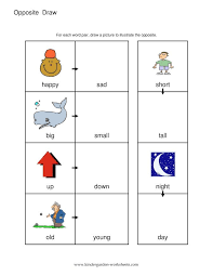 antonyms worksheets for kindergarten koogra