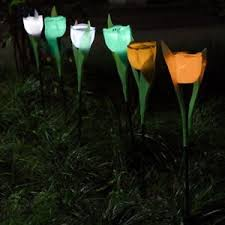 tulip solar path lights 6 pack outdoor solar powered tulip flower led light yard garden path