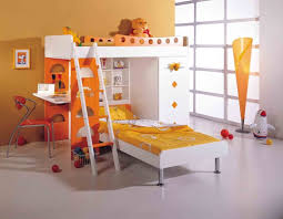 Orange And White Bedroom Bedroom Modern Orange And White Wooden Bunk Bed With Study Desk