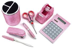 Pink Desk Accessories Set 7 Light Pink Office Supply Set Pen Scissors Calc