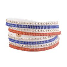 crystal leather wrap bracelet images Crystal leather wrap bracelets football team colors bobbles