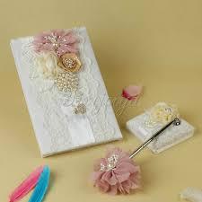 wedding guest book and pen set wedding signature guest book pen and pen stand set with satin bows