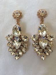 bridal chandelier earrings navy blue swarovski embellished teardrop dangle earrings