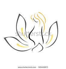 pregnant woman lotus flower new life stock vector 589466879