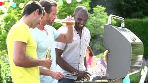 sit around grill table group of men cooking on barbeque at home stock video video of