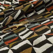 Multi Coloured Upholstery Fabric New Woven Geometric Black Red Blue Orange Multi Colour Houndstooth