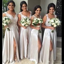discount bridesmaids dresses chagne lace cheap bridesmaid dresses side split lace