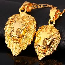 big gold necklace men images Lion pendant necklace 18k gold platinum plated punk men jewelry jpg