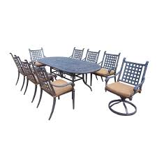 Oakland Living Mississippi Cast Aluminum Oakland Living Belmont 9 Piece Patio Dining Set With Sunbrella