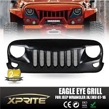 matte black jeep 2016 xprite front black eagle eye grill grille with mesh for 2007 2017