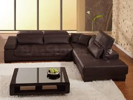 Soft Sectional Sofa Dark Brown Leather Sofa With Cushions Glass Low Living Table On