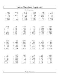 column method addition worksheets grade 4 addition worksheets
