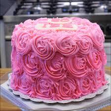 Pink Buttercream Rose Swirl Birthday Cake Gray Barn Baking