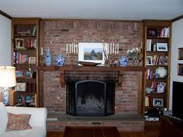 painted brick fireplace with red brick stone fireplace having