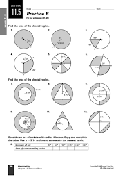 Area Of Sector Worksheet Area Circle Shaded Region Lesson Plans Worksheets