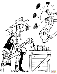 cowboy and horse playing chess coloring page free printable