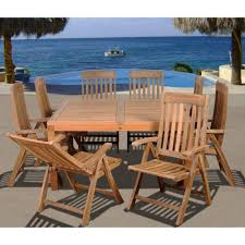 Teak Outdoor Dining Table And Chairs Amazonia Eiffel Square 9 Piece Solid Teak Patio Dining Set