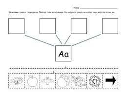 free beginning sounds cut and paste activity letters a through m