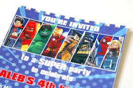 Superhero Invitation Card Lego Superhero Birthday Invitation The Scrap Shoppe
